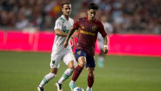 FILE: Jonathan Menendez #10 of Real Salt Lake pushes the ball up field against the Austin FC during their game Aug. 14, 2021 at Rio Tinto Stadium in Sandy, Utah.