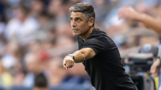FC Dallas head coach Luchi Gonzalez directs his players during the MLS regular season match between Sporting Kansas City and FC Dallas on Saturday July 31st, 2021 at Childrens Mercy Park in Kansas City, Kansas.