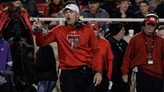 Texas Tech Red Raiders Head Coach Matt Wells calls out to an official during the college football game between the Texas Tech Red Raiders and the Kansas State University Wildcats on Nov. 23, 2019, at Jones AT&T Stadium in Lubbock, TX.