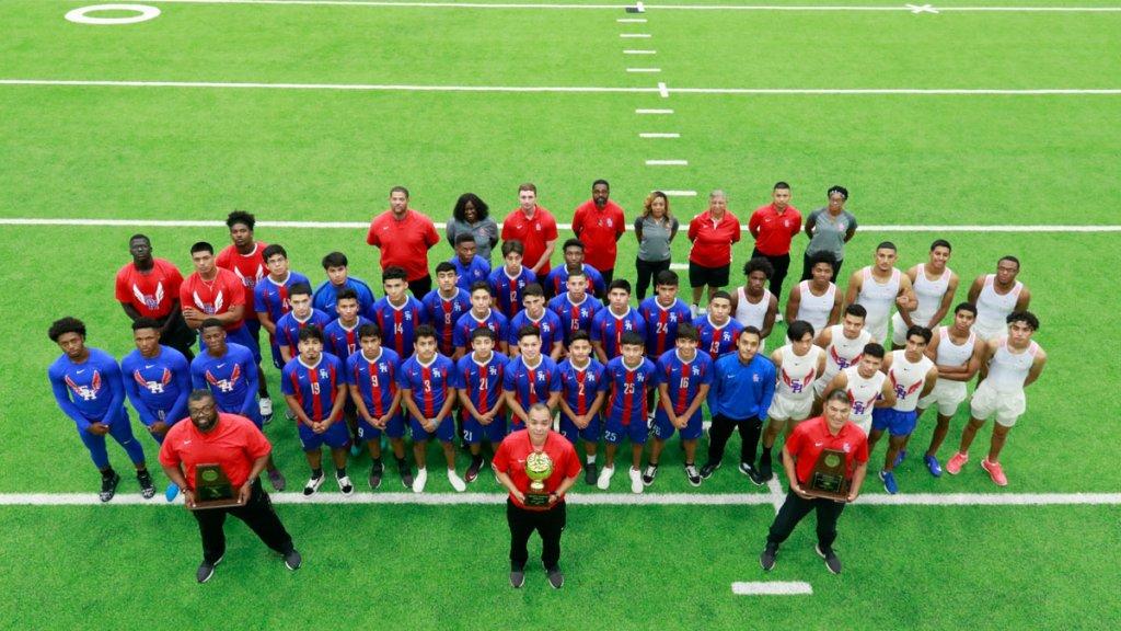 Joey Rodriguez with his Sam Houston High School soccer team.