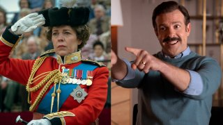 """This combination of photos shows, from left, Olivia Colman in """"The Crown"""" and Jason Sudeikis in """"Ted Lasso."""""""