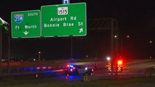 A man died after he was ejected from a motorcycle on a highway overpass Saturday night, Denton police say.