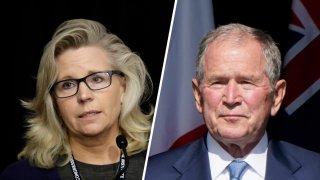 Liz Cheney and George W. Bush.