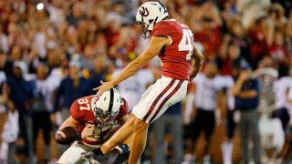 Kicker Gabe Brkic #47 of the Oklahoma Sooners kicks the winning field goal as time expires against the West Virginia Mountaineers in the fourth quarter at Gaylord Family Oklahoma Memorial Stadium on Sept. 25, 2021 in Norman, Oklahoma. Oklahoma won 16-13.