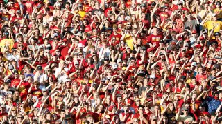 Iowa State Cyclones fans cheer on their team as they take on the Northern Iowa Panthers in the second half of play at Jack Trice Stadium on Sept. 4, 2021 in Ames, Iowa. The Iowa State Cyclones won 16-10 over the Northern Iowa Panthers.