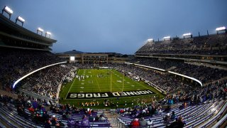 A general view of the game between the West Virginia Mountaineers and the TCU Horned Frogs in the first half at Amon G. Carter Stadium on Nov. 29, 2019 in Fort Worth, Texas.