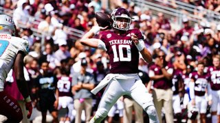 Quarterback Zach Calzada #10 of the Texas A&M Aggies throws the ball during the second quarter of the game between the Texas A&M Aggies and the New Mexico Lobos at Kyle Field on Sept. 18, 2021 in College Station, Texas.