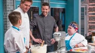 Pictured: (l-r) Head Judge Curtis Stone, Guest Chef Joshua John Russell, Fuller Goldsmith