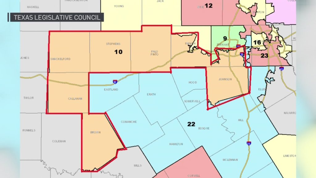 A map approved by the Texas Senate on Monday would move District 10 from entirely within Tarrant County to include several rural counties to the southwest.