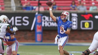 Southern Methodist Mustangs quarterback Tanner Mordecai (8) passes during the game between SMU and USF on Oct. 2, 2021 at Gerald J. Ford Stadium in Dallas, Texas.