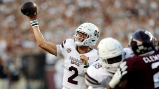 Mississippi State Bulldogs quarterback Will Rogers (2) makes a throw during the game against the Texas A & M Aggies on Oct. 2, 2021, at Kyle Field in College Station, Texas.