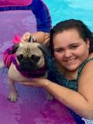 [UGCDFW-CJ-dog days]Maddie the Pug 1st time swimming