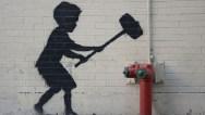 Banksy graffiti artwork on the Upper West Side, New York, Americ