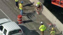 Hole Opens in Pavement on I-35E Overpass in Denton