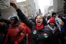 Protesters March in Chicago Shopping District on Black Friday