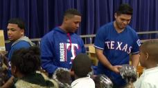 Texas Rangers Give Out Baseball Gloves