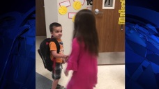 Kindergarten Class Shake Hands, Smiles Every Morning