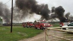 Firefighters in Navarro County Battle Oil Tank Fire