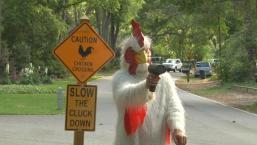 'Slow the Cluck Down!': Chicken Man Fights Speeders