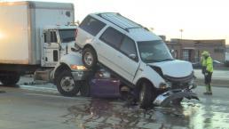 Terrifying Crash Leaves Vehicles Stacked