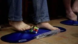 Rubiks Cube Competition Using Feet