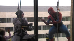Window-Washing Superheroes Bring Smiles to Children's Hospital Patients