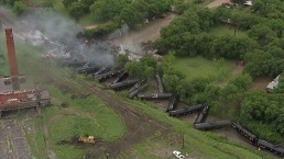 Video: Freight Cars Piled Up After Derailment in Fort Worth