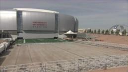 Timelapse: Grass Field Slides into Super Bowl Stadium