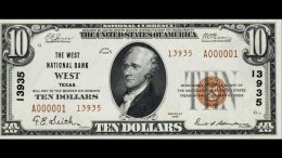 Rare $10 Bill Marked for Town of West to be Sold