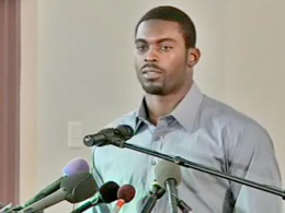 Michael Vick Speaks Out Against Dogfighting at Southwest Church