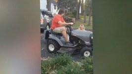 Dad Can't Pick Up Kids in Lawn Mower: School