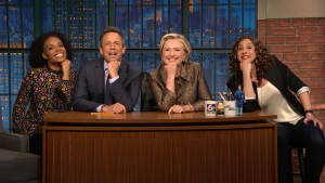 'Late Night': Clinton Helps Meyers Tell Jokes He Can't Tell