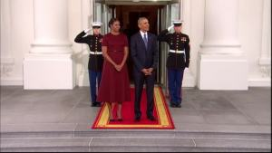 Obamas, Trumps Shake Hands at White House