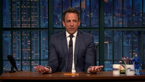 'Late Night': Meyers Goes Off Cue Cards