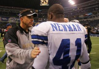 Payton Hosts Romo, Witten at Beach Football Game