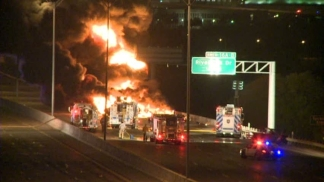 Tanker Truck Explodes After Collision