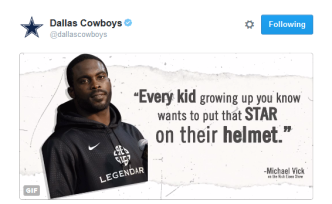 Cowboys Twitter Page Tweets Out Michael Vick Quote