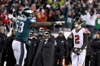 Eagles Use Goal-Line Stand, Elliott FGs to Beat Falcons