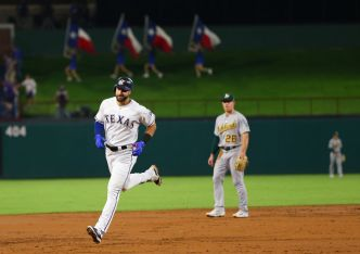 Gallo Hits HRs 40, 41 to Lift Rangers Over A's 8-4