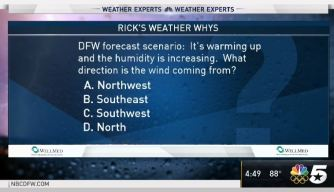 Weather Quiz: Warm, Humid Wind Direction