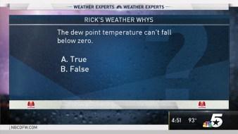 Weather Quiz: Dew Point Temperatures