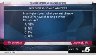 Weather Quiz: Percent Chances for White Christmas