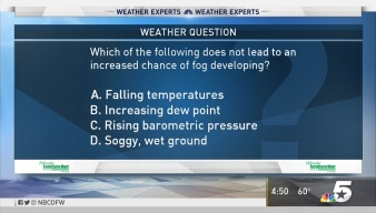 Weather Quiz: Chances of Fog Developing