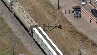 Train Hits Tractor Mower Stuck on Tracks