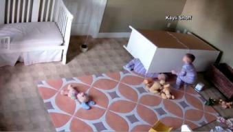 Nanny Cam Captures Dresser Toppling Over Twins