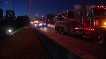 Overturned 18-Wheeler Closes I-35E Ramp to DNT