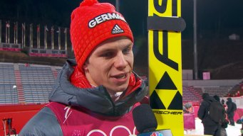 Germany's Andreas Wellinger's Raw Reaction to Winning Gold