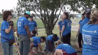 Volunteers From Lockheed Martin Plant Flowers Along Trinity Trail