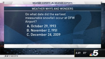 Weather Quiz: On What Date did the Earliest Measurable Snowfall Occur at DFW Airport?