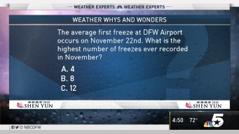 Weather Quiz: What is the Highest Number of Freezes Ever Recorded in November?